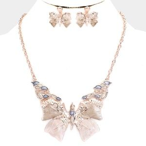 Jewelry - Rose Gold Butterfly Pendant Necklace Jewelry Set